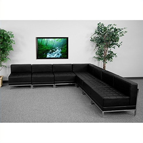 Cheap Flash Furniture Hercules Imagination Series Black Leather Sectional Configuration, 7 Pieces