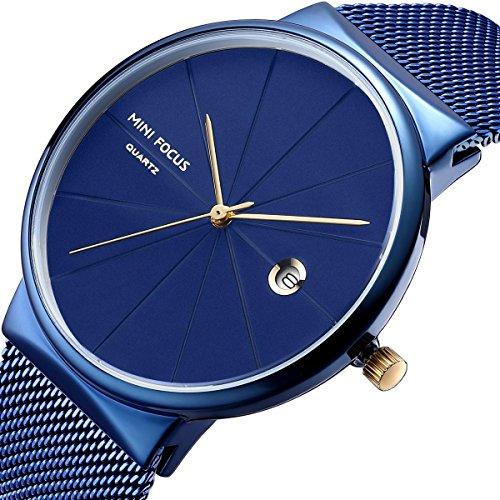 MINI FOCUS Mens Watches Unisex Fashion Sport Waterproof Quartz Analog Watch Classic Blue Stainless Steel Luxury Business Dress -