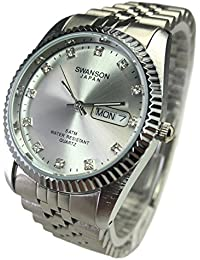 Reloj de Hombre Swanson Japan Watch Mens Silver With Stone Day-Date New Water Resistant