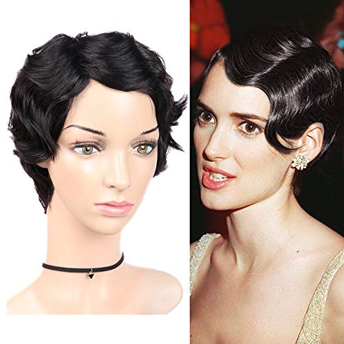 WIGNEE Short Finger Wave 100% Human Hair Mommy Wig For Fashion Women (Natural -