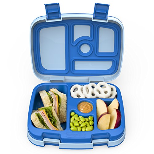 Bentgo Kids Childrens Lunch Box - Bento-styled Lunch Solution Offers Durable, Leak-proof, On-the-go Meal and Snack Packing (Blue Snack)