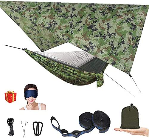 AEETT Camping Hammock with Mosquito Net and Rain Fly – Travel Hammock Bug Net – Hammock Tent for Outdoor Hiking Backpacking Travel Camping Accessories and Camping Gear camo