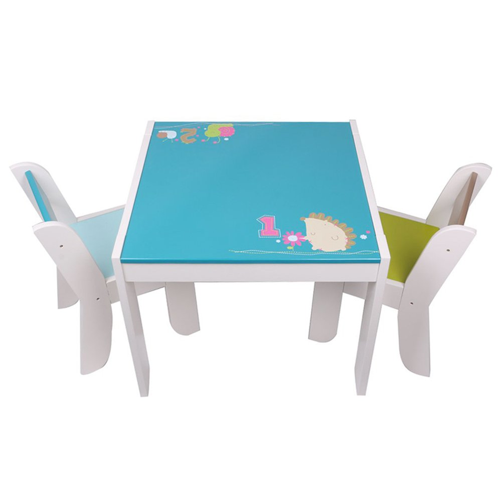 labebe Wooden Activity Table Chair Set, Blue Hedgehog Table for 1-5 Years, Baby Table Toy/Table Baby/Room Table/Learning Table Cover/Kid Bedroom Furniture/Child Furniture Set/Kid Desk Chair