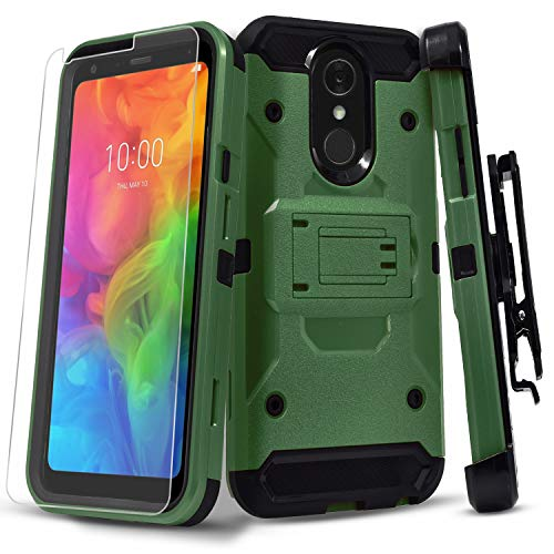 (Revvl 2 Case (T-Mobile) with [Tempered Glass Screen Protector], Full Cover Heavy Duty Dual Layers Phone Cover with Kickstand and Locking Belt Clip-Red (Green))
