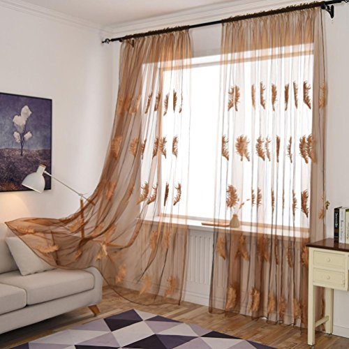 Decorative Curtains, BSGSH Feather Embroidery Curtains Sheer Valances Window Curtains/Drape/Panels/Treatment for Door Kitchen Living Room (Brown) (Types Window Treatment Header)