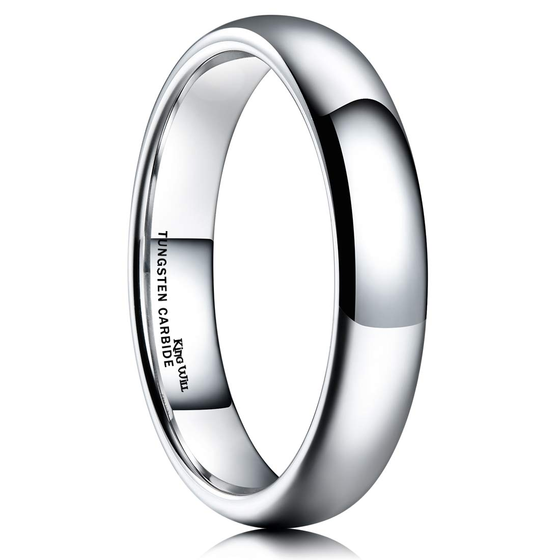 King Will Basic 4mm Classic Polished Comfort Fit Domed Tungsten Metal Ring Wedding Band 9.5