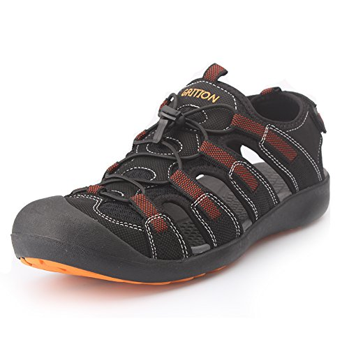 Image of GRITION Men's Outdoor Sandals Protective Toecap Water Shoes Sport Hiking Sandals Waterproof Quick Dry Large Size Brown/Black (13.5 US, Black/Orange)