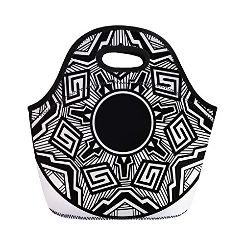 (Semtomn Neoprene Lunch Tote Bag Abstract Traditional Acoma Pottery Painting American Arizona Crafts Drawing Reusable Cooler Bags Insulated Thermal Picnic Handbag for Travel,School,Outdoors,Work)