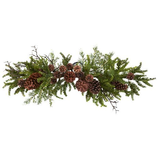 Nearly Natural 4943 Pine and Pine Cone Swag, 30-Inch, Green/Brown - Pine Door Swag