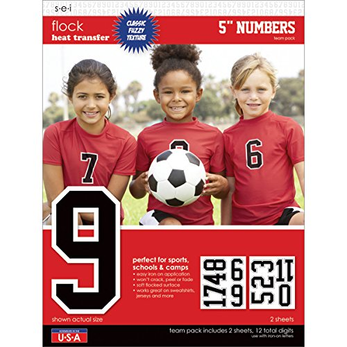 SEI 5-Inch Iron-On Team Pack Athletic Number Transfers, Black, 2-Sheet ()