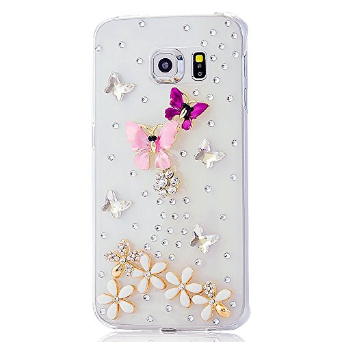 Samsung Galaxy S7 Active Bling Case - Fairy Art Luxury 3D Sparkle Series Butterfly Flowers Crystal Design Back Cover with Soft Wallet Purse Red Cloth Pouch - Hot - Code Hot Sunglasses Red