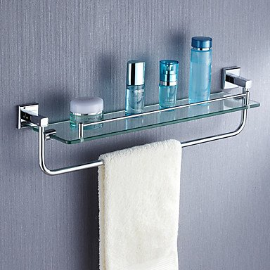 Attractive Chrome Finish Single Storage Glass Shelf Towel Rack By Bathroom Shelves