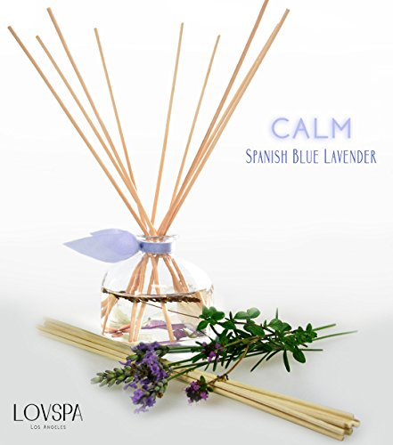 Lavender Essential Oil Reed Diffuser Set Calm by LOVSPA | Spanish Blue Lavender, Clary Sage and Violet Leaf Essential Oils | Relaxing, Calming Home Fragrance for Stress Relief (Reed Diffuser Blue)