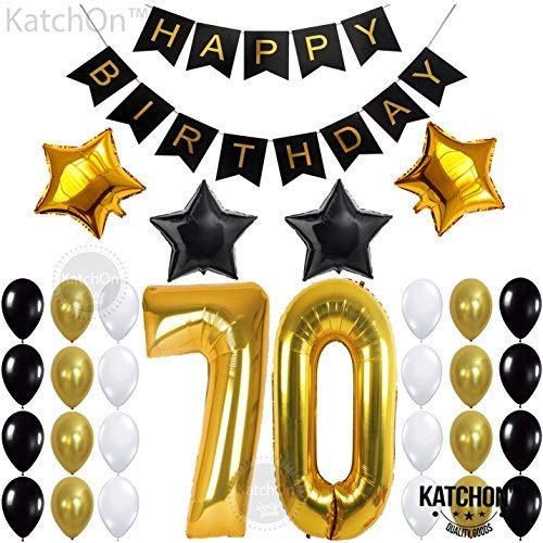 70th BIRTHDAY PARTY DECORATIONS KIT - 70th Birthday Party Supplies | 70 Balloons Number | Black and Gold Banner and Balloons | Great 70 Years Old Party Supplies | 70's Theme Party for Adult -