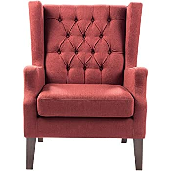 Button Tufted Wing Chair Red/Maxwell