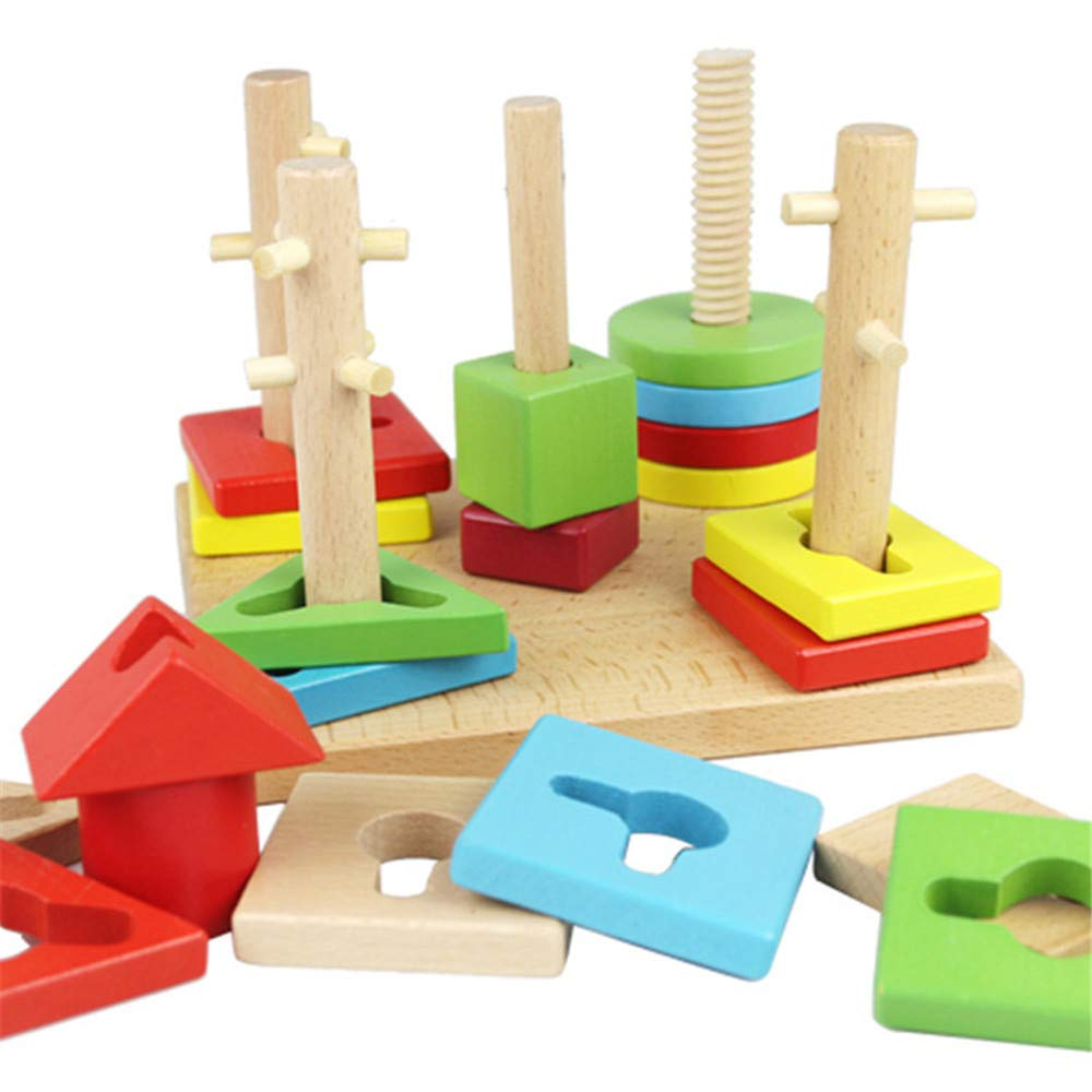 Educational Toys for 1 Year olds, MeiLiio Wooden Column Blocks Colorful Building Geometric Shapes Columns Pillars Wooden Building Blocks Toys for Children Toddler Kids