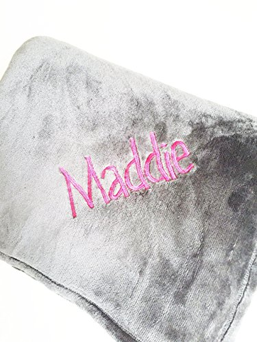 Personalized Blanket 5'x6' - Solid Silver Gray- Custom Embroidery - Monogrammed Throw Blanket - Ultra Plush