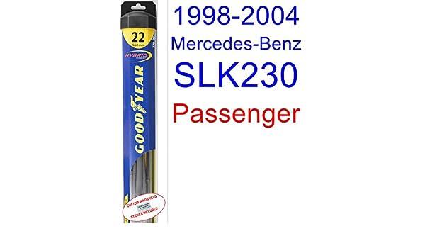 1998 - 2004 Mercedes-Benz SLK230 hoja de limpiaparabrisas de repuesto Set/Kit (Goodyear limpiaparabrisas blades-hybrid) (1999,2000,2001,2002,2003): ...