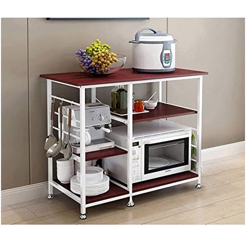 Basde Kitchen Rack, Kitchen Baker's Rack Utility Storage Shelf 35.5″ Microwave Stand 4-Tier+3-Tier Shelf for Spice Rack Organizer Workstation (White)