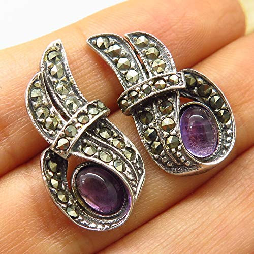 Signed 925 Sterling Silver Real Amethyst & Marcasite Abstract Design Earrings