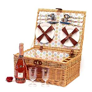 Florence 4 Person Wicker Picnic Hamper Basket with Sant Orsola Sparkling Rose Wine 75cl - Luxury Birthday Gifts for Women Her Wife Mum