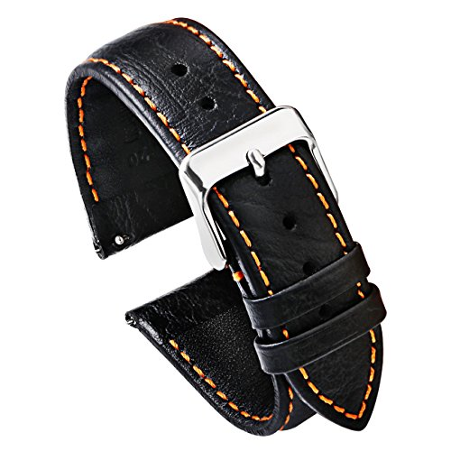 uick Release Watch Band Leather Watch Strap Men for Watches and Smartwatches - Black 20mm (Orange Stitching) Soft (Hamilton Leather)