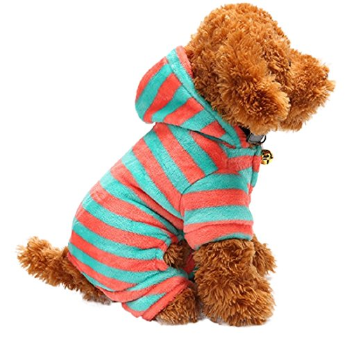 GONKOMA Pet Puppy Apparel, Winter Warm Padded Outfit Striped Velvet Small Dog Costumes Pet Clothes (XS, D) - Denim Breed Shirt