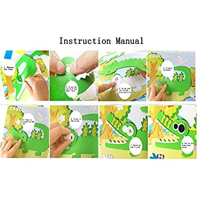 Hillento 10 PCS 3D Stickers Paper EVA Handmade Puzzles Activity Jigsaw EVA Adhesive Art Sticker Painting for Kids Education Toy, Style 1: Toys & Games