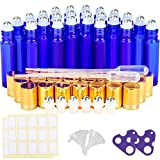 Glass Roller Bottles, KAMOTA 24 Pack 10 ml Cobalt Blue Essential Oil Roller Bottles with Golden Lids and Stainless Steel Roller Balls (6 Extra Roller Balls, 30 Labels, 2 Openers, 2 Funnels, 2 Dropper)