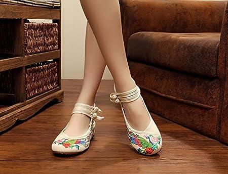 Y&M Gestickte Schuhe, Sehnensohle, ethnischer Stil, Femaleshoes, Mode, bequem, Tanzschuhe , white , 38
