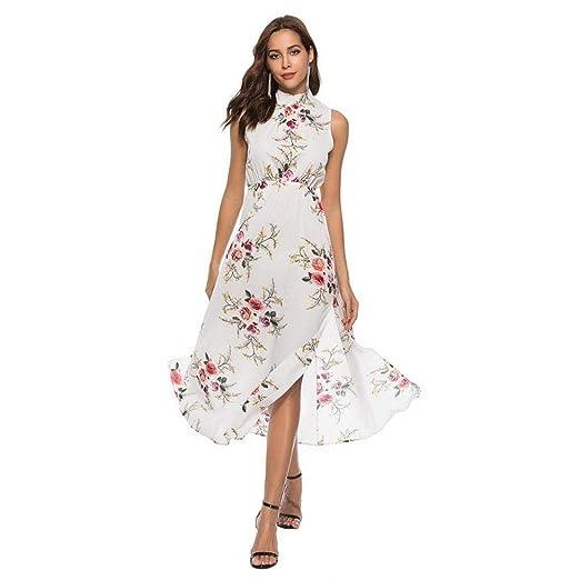 e30e5ab7d76 DOINSHOP Maxi Dress for Women Floral Printed Sleeveless Bandage Summer  Beach Long Dress at Amazon Women s Clothing store