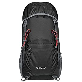 G4Free Lightweight Packable Hiking Backpack 40L Travel Camping Daypack Foldable 6 High Capacity 40L; Unfold size: 22.8 x 13.4 x 7.9 inches (H x W x D); Roomy enough to carry what you need in the trip like the hammock, clothes, towel, food and a couple beers if needed. NOTE: the backpack is 40L+ when it is fully packed. 1 Main Compartment, 2 Top Pouch (Interior Exterior), 1 Front Spandex Pouch, 2 Sports Bottle Holder, and Padded Backpack Strap with Chest Clip Practical Design; This hiking backpack has bungee elastic ropes and straps for hanging the trekking poles, fishing rods, sleeping bag or the camping accessories for extra space. Chest strap for secure lock firmly and has the whistle wildlife essentials helping you to find your companion when in need. Large side mesh pocket to hold the big bottle Lightweight yet Durable; The backpack is made from High Quality Water and Tear Resistant Nylon fabric, provide strengthen and long-lasting performance with minimal weight; Adjustable and breathable padded shoulder and strap to meet different requirements for both men and women