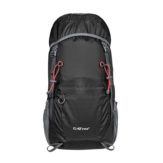 G4Free Lightweight Packable Water Resistant Large 40L Travel Hiking Backpack Daypack Foldable 1 High CAPACITY: Larger than other packable backpack! 40L! Large enough to carry what you need in the trip,It's roomy enough for your hammock, clothes, towel, journal,and a couple beers if needed, etc. NOTE: the backpack is 40L+ when it is fully packed. HANDY AND LIGHTWEIGHT: It fits into an ultra-compact pouch. Easy to folds up into small pocket. So you can easily pack it in your suitcase, purse or car and have an extra bag without it taking up. DURABLE: The backpack is made from High Quality Water and Tear Resistant Nylon fabric, provide strengthen and long-lasting performance with minimal weight; Adjustable and breathable padded shoulder and strap to meet different requirements for both men and women