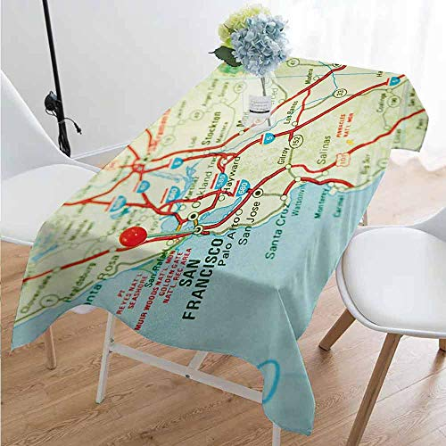 Map Anti-Wrinkle and Anti-Wrinkle Polyester Long Tablecloth Vintage Map of San Francisco Bay Area with Red Pin City Travel Location for Weddings/banquets W54 x L108 Inch Pale Blue Pale Green Red (Best Wedding Locations Bay Area)