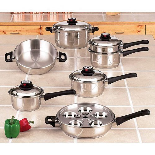 Maxam 9-Element Cookware Heavy Surgical Stainless Steel Construction High Dome...