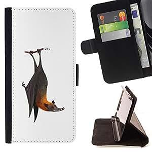 BullDog Case - FOR/Samsung Galaxy S3 Mini I8190Samsung Galaxy S3 Mini I8190 / - / BAT CUTE COOL WHITE GREY ANIMAL /- Monedero de cuero de la PU Llevar cubierta de la caja con el ID Credit Card Slots Flip funda de cuer
