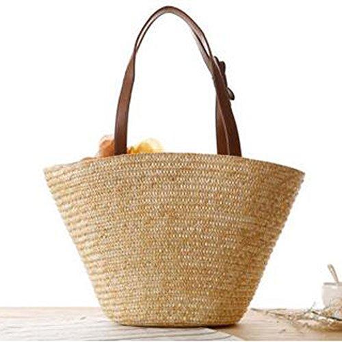 SUNAVY Damen Stroh Strandtaschen Tragbar Schultertasche Sommer Feld Handtaschen mit Süß Blume Dekoration,Gelb Beige