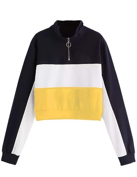 buy popular 8512c 48cc1 Bauchfreier Pulli Mädchen, Damen Bauchfrei Gestreift Patchwork Pullover  Spleißen Farbe Langarm Sweatshirt Kurz Crop Tops Oberteile Sweatjacke  Shirts ...