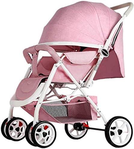 Opinión sobre OESFL Cochecito de bebé portátil carro de bebé del cochecito de bebé cochecito ligero portátil de alta paisaje puede sentarse y acostarse plegable manija reversible simple suspensión neonatal cochecit