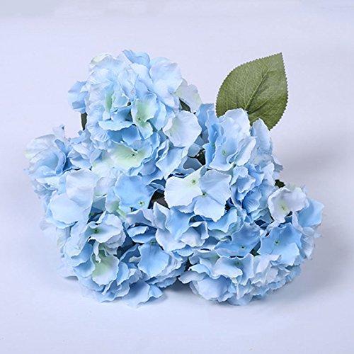 LingStar (1 Bunch of 5 flowers ) Artificial Silk Hydrangea Bouquet Fake Flowers Arrangement Home Wedding decor (Light Blue) (Hydrangea Artificial Arrangement)