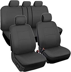 BDK OS309 PolyPro Car Seat Covers, Full Set (Solid Charcoal) – Front and Rear Split Bench Protection, Easy to Install, Universal Fit for Auto Truck Van SUV