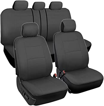 Car Black Embroidery Full Car Seat Covers Set Front /& Rear Seat Protector Soft