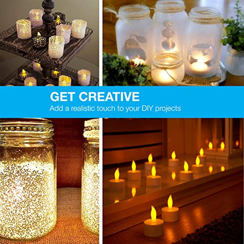 LED Candles, Lasts 2X Longer, Realistic Tea Light Candles, Flameless Candles to Create a Warm Ambiance, Naturally Flickering Bright Tealights,Battery Powered Candles,Unscented, Batteries Included (24) by Vont (Image #5)