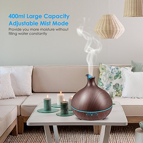 Large Product Image of URPOWER 400ml Essential Oil Diffuser Wood Grain Diffuser with Auto Shut-off, 7 Color Light Aromatherapy Oil Diffuser Humidifier and 4 Timer Settings Humidifiers for Bedroom Office
