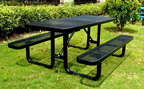 72″ Expanded Metal Rectangular Picnic Table, Black!