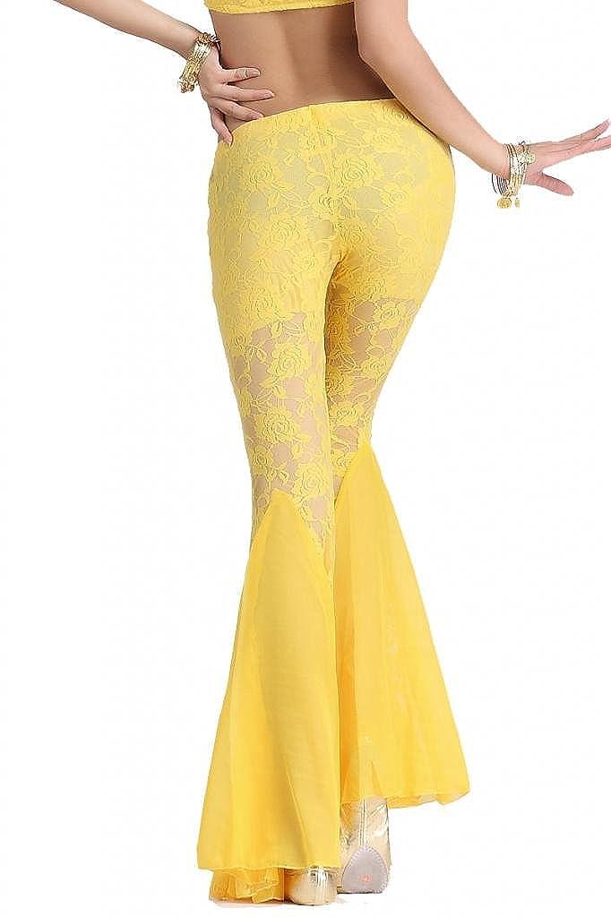 ZLTdream Womens Belly Dance Lace Fishtail Pants
