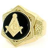 10k Solid Yellow Gold Round Onyx Masonic Mens Ring