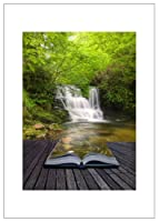 NW Pitney Ink Waterfall Mist Book Gift Greeting Card, 5 x 7 Inches (1212BKS)