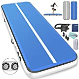 Furgle 10ft/13ft/16ft/20ft Inflatable Airtrack Gymnastics Tumbling Floor Mat,Tumble Track Air Mat,Home Use Air Tracks with Electric Air Pump for Kids/Gym/Training/Pool (20ftx3.3ftx8inch, Blue + Gray)