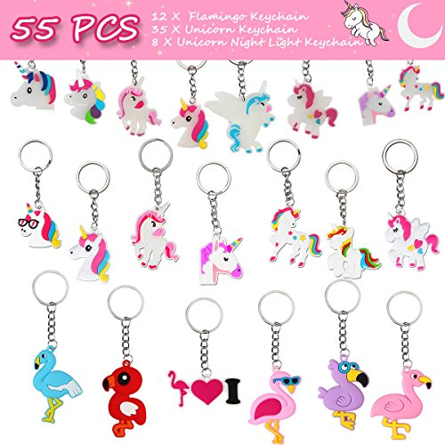 Unicorn Keychains, Flamingo Keychains, Rainbow Unicorn Glow in the Dark Key Rings Decoration Birthday Party Favor Supplies, Prizes Gifts for Kids and Girls (55 (Dark Rainbow Rings)
